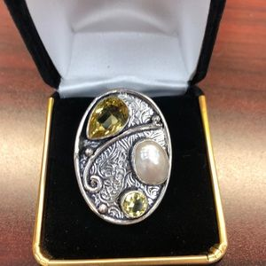 Citrine Pearl Ring